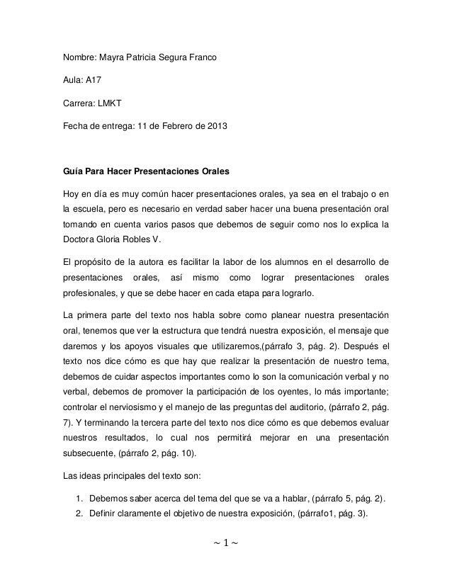 Nombre: Mayra Patricia Segura FrancoAula: A17Carrera: LMKTFecha de entrega: 11 de Febrero de 2013Guía Para Hacer Presentac...
