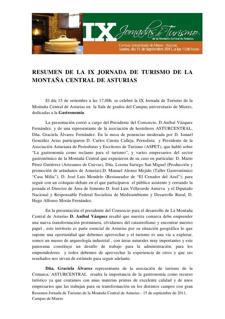 Resumen IX jornada de Turismo de la Montaña Central de Asturias