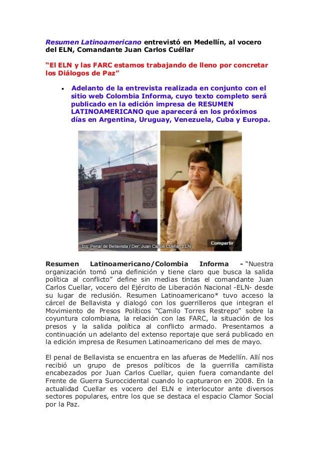 """Resumen Latinoamericano entrevistó en Medellín, al vocero del ELN, Comandante Juan Carlos Cuéllar """"El ELN y las FARC estam..."""
