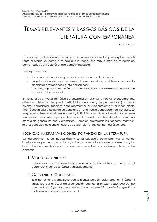 Síntesis de Contenidos Análisis de textos literarios y no literarios referidos a temas contemporáneos Lengua Castellana y ...