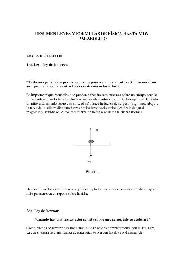 Resumen leyes y formulas de física hasta mov