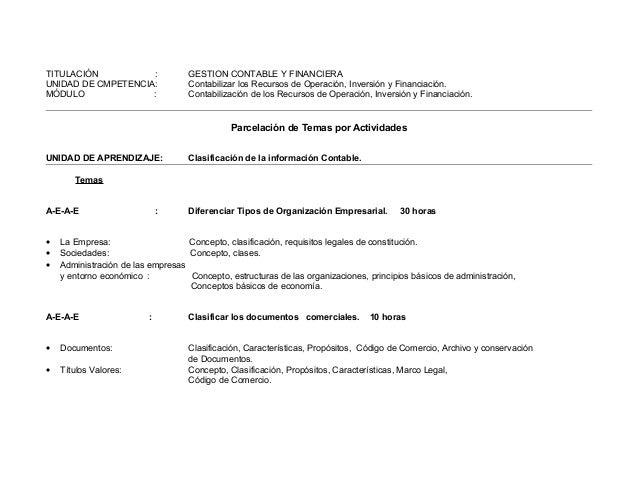 TITULACIÓN : GESTION CONTABLE Y FINANCIERA UNIDAD DE CMPETENCIA: Contabilizar los Recursos de Operación, Inversión y Finan...