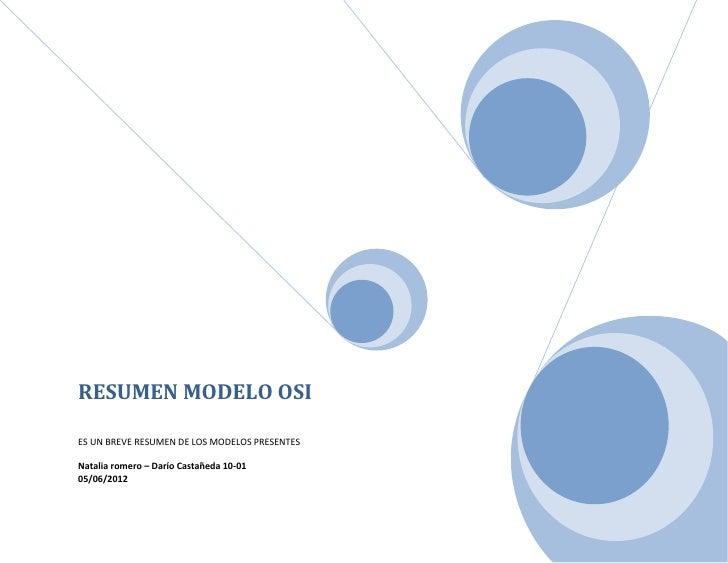 RESUMEN MODELO OSIES UN BREVE RESUMEN DE LOS MODELOS PRESENTESNatalia romero – Darío Castañeda 10-0105/06/2012