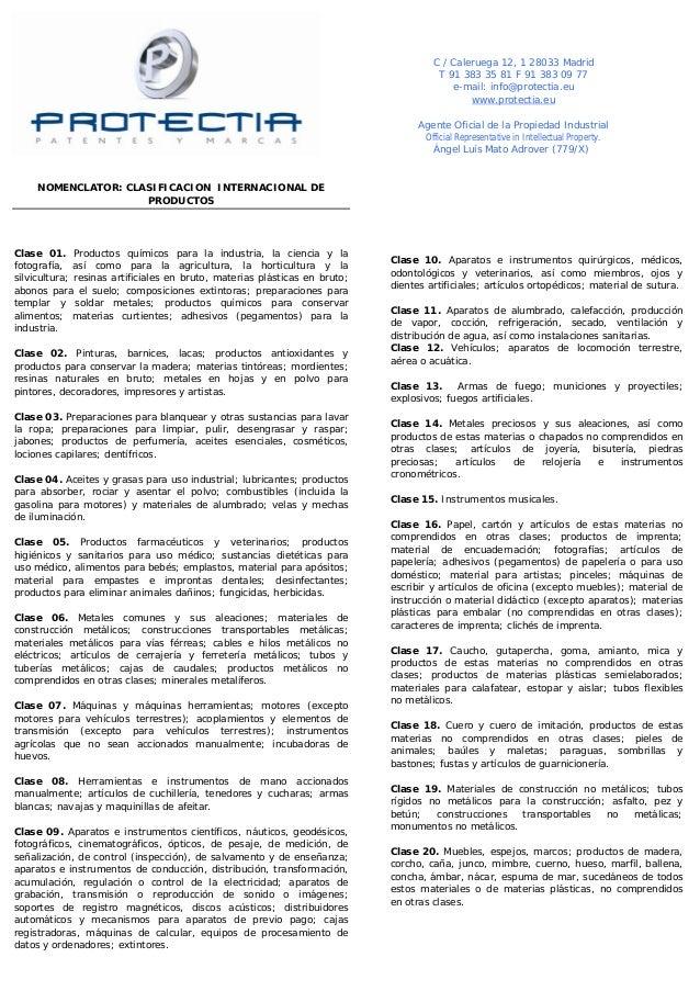 NOMENCLATOR: CLASIFICACION INTERNACIONAL DE  PRODUCTOS