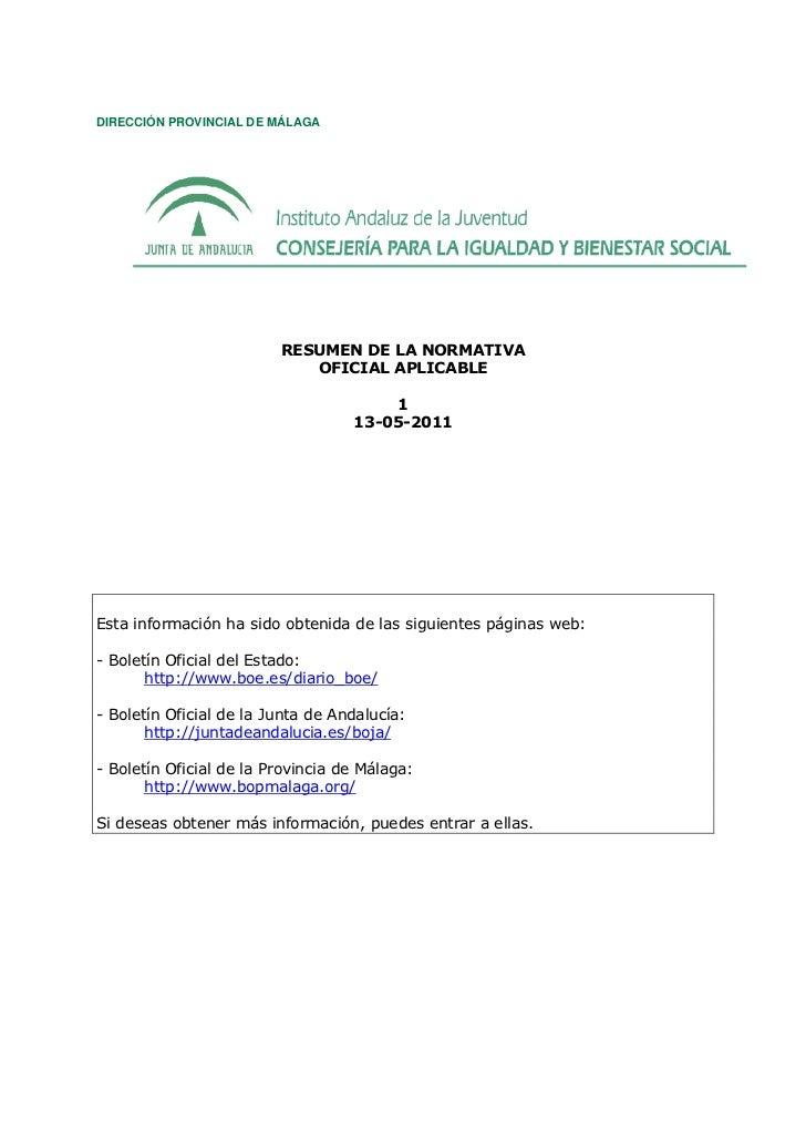 DIRECCIÓN PROVINCIAL DE MÁLAGA                         RESUMEN DE LA NORMATIVA                            OFICIAL APLICABL...