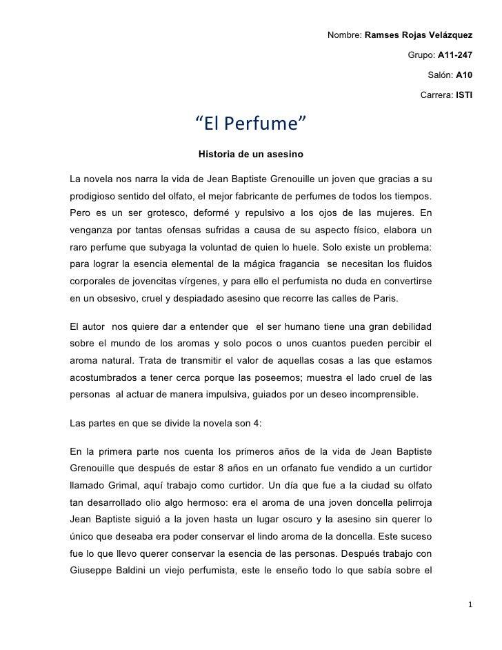 resumen novela el perfume