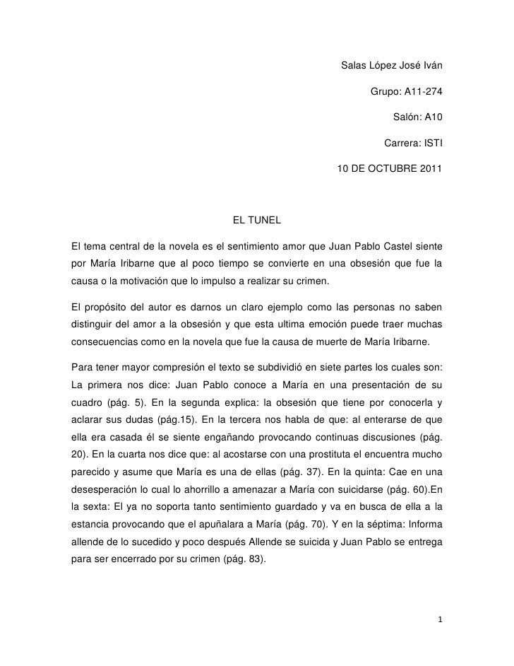 Salas López José Iván<br />Grupo: A11-274<br />Salón: A10<br />Carrera: ISTI<br />10 DE OCTUBRE 2011<br />EL TUNEL<br />El...