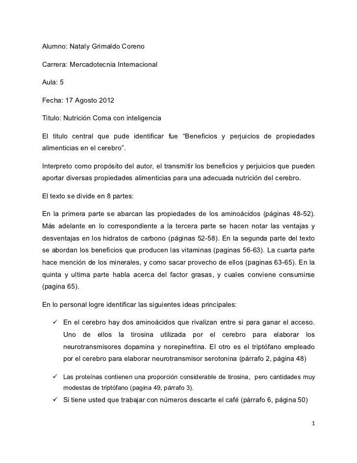 Alumno: Nataly Grimaldo CorenoCarrera: Mercadotecnia InternacionalAula: 5Fecha: 17 Agosto 2012Titulo: Nutrición Coma con i...