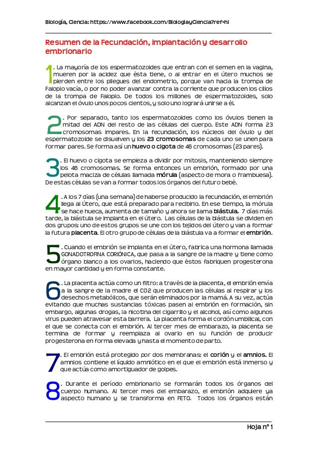 Biología, Ciencia: https://www.facebook.com/BiologiayCiencia?ref=hlResumen de la Fecundación, implantación y desarrolloemb...