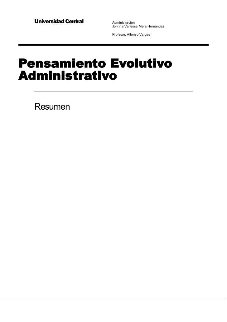 Resumen pensamiento evolutivo administrativo