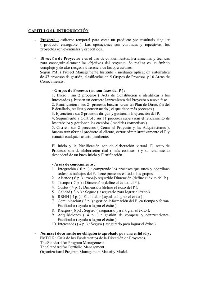 Resumen pmbok 5 certificaci n project manager pmi for Ejemplo proyecto completo pmbok