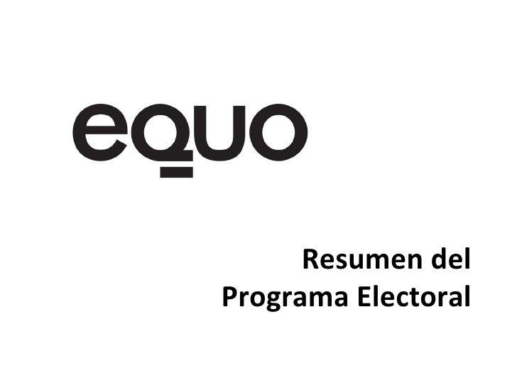 Resumen del Programa Electoral