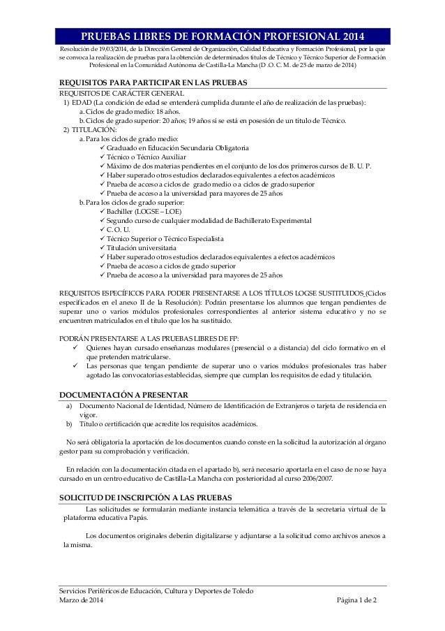 Resumen pruebas libres fp 2014