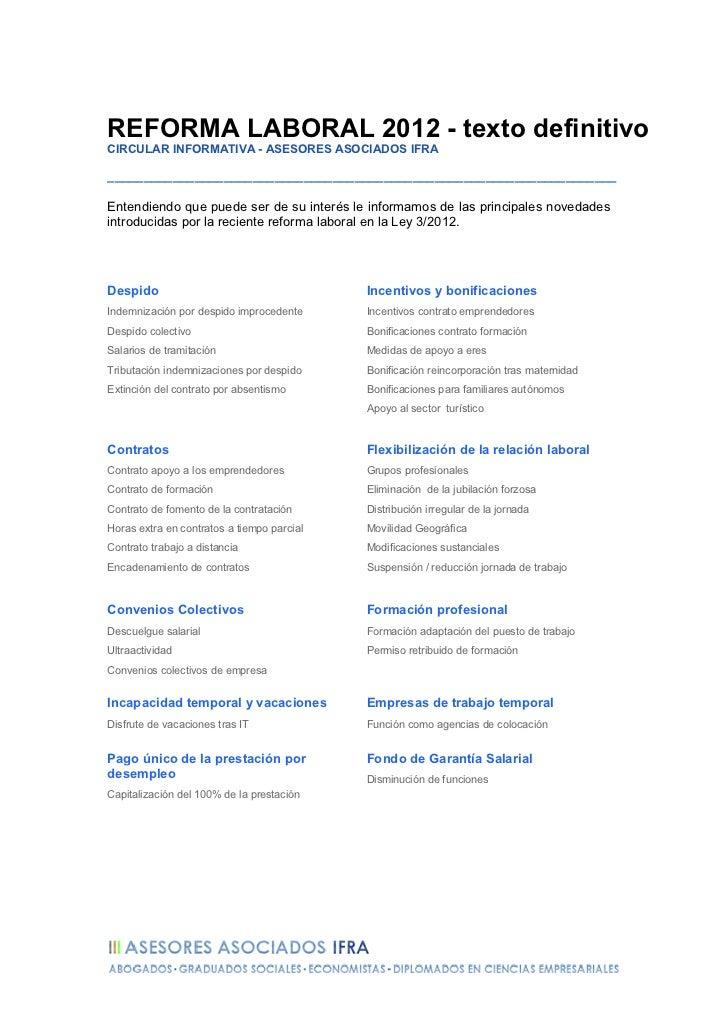 Resumen Reforma Laboral 2012 - Ley 3/2012