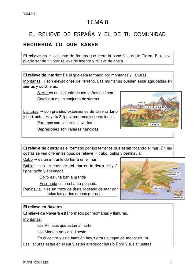 TEMA 8  TEMA 8 EL RELIEVE DE ESPAÑA Y EL DE TU COMUNIDAD RECUERDA LO QUE SABES El relieve es el conjunto de formas que tie...