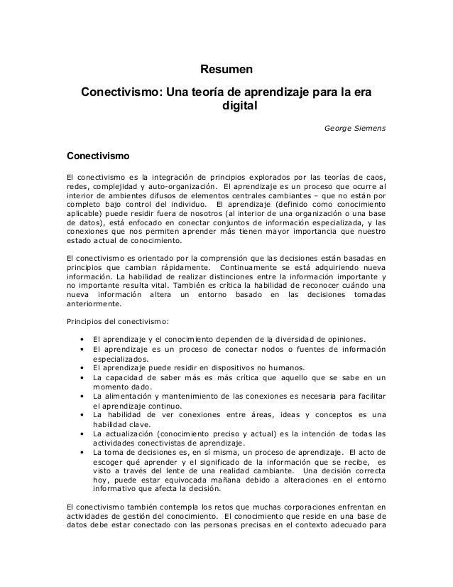 Resumen siemens(2004) conectivismo