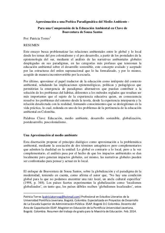 Aproximación a una Poética Paradigmática del Medio Ambiente - Para una Comprensión de la Educación Ambiental en Clave de B...