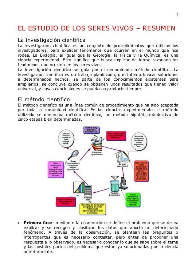 1EL ESTUDIO DE LOS SERES VIVOS – RESUMENLa investigación científicaLa investigación científica es un conjunto de procedimi...