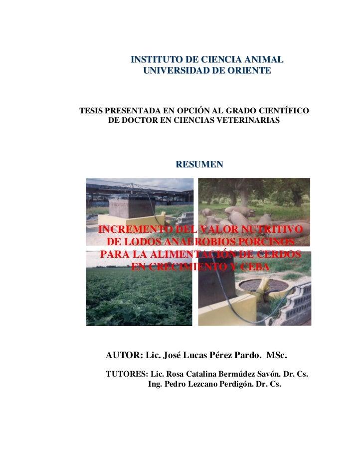 INSTITUTO DE CIENCIA ANIMAL             UNIVERSIDAD DE ORIENTETESIS PRESENTADA EN OPCIÓN AL GRADO CIENTÍFICO       DE DOCT...