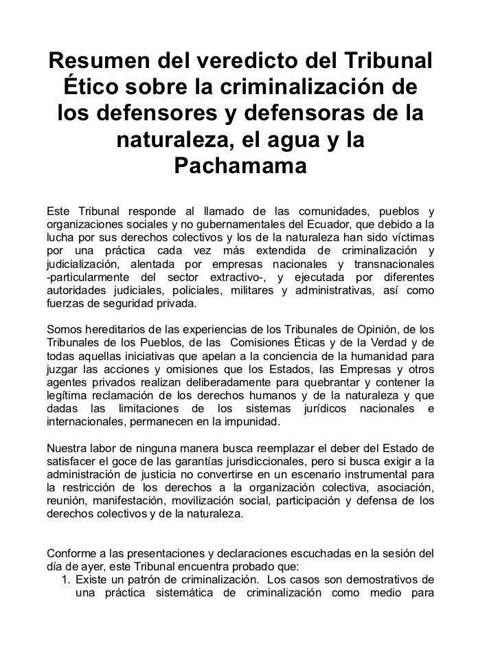 VEREDICTO DEL TRIBUNAL ÉTICO ANTE LA CRIMINALIZACIÓN  A  DEFENSORES Y DEFENSORAS DE LOS DERECHOS HUMANOS Y DE LA NATURALEZA