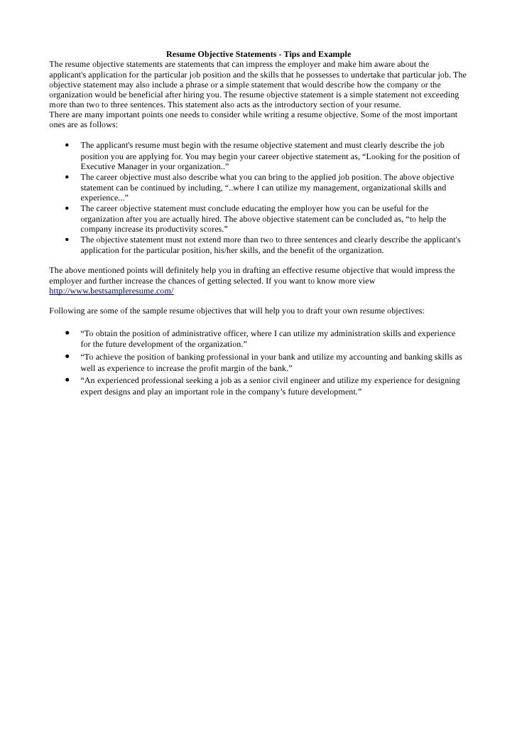 Resume objective statement tips