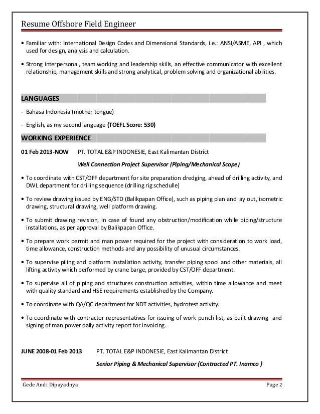 resume international format