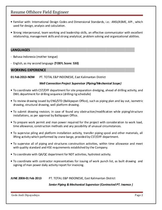 resume offshore field engineer