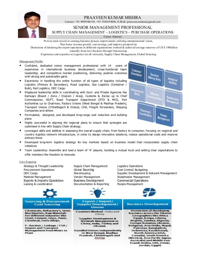 resume of logistics supply chain professional with 14 years of enri - Supply Chain Management Resume
