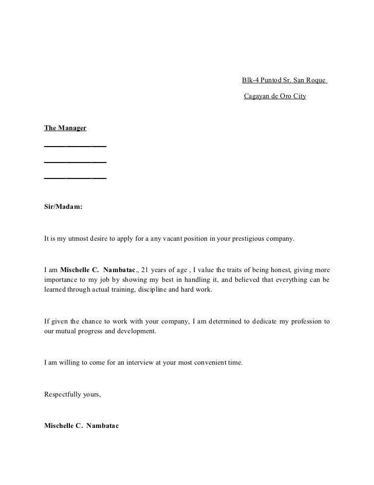 sample application letter for any vacant position