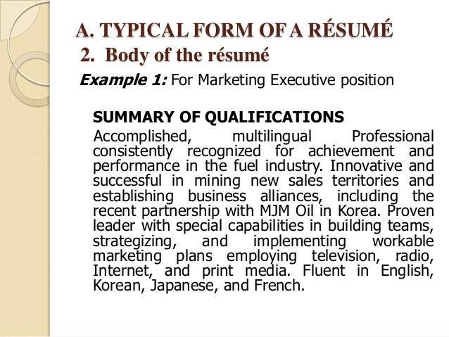 qualifications on resumes