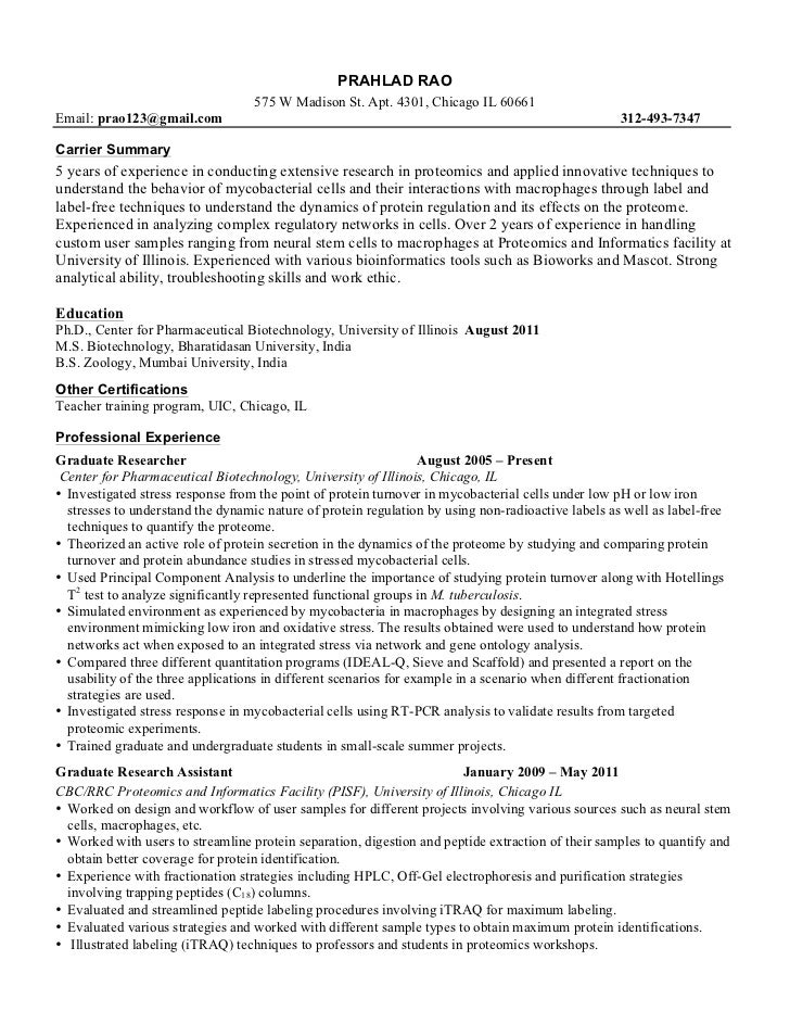 Example Resume Sample Resume Biology Major