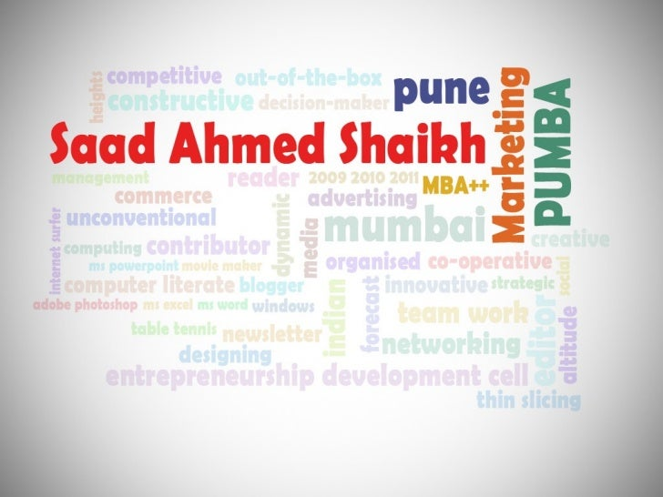 My Visual Resume - Saad Ahmed Shaikh