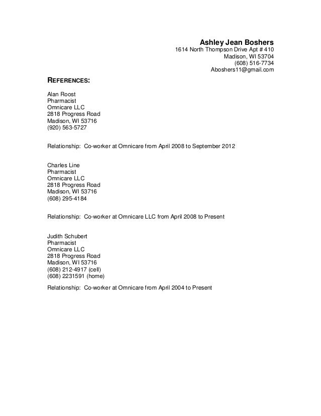 References Of Resumes