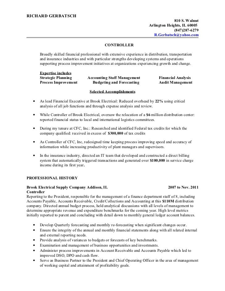 Controller resume