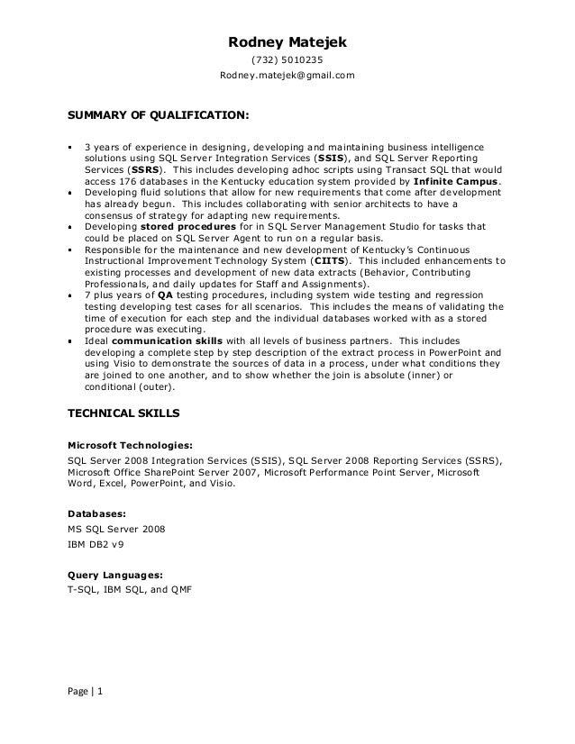 resume rodney matejek sql server bi developer