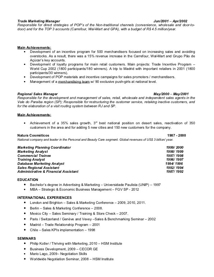 Marketing manager resume budget