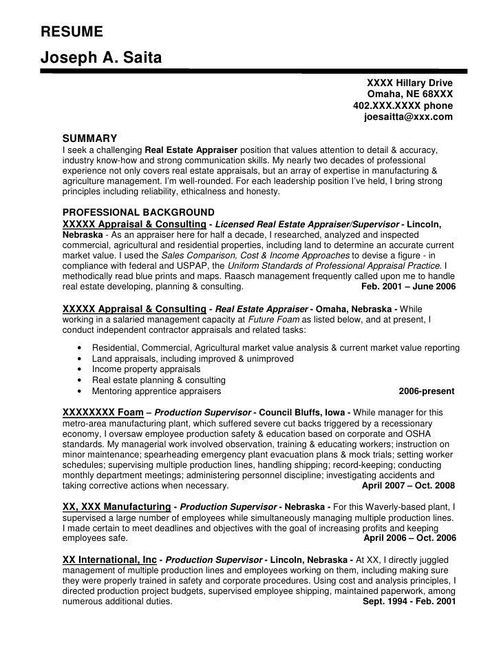 Appraiser Sample Resumes