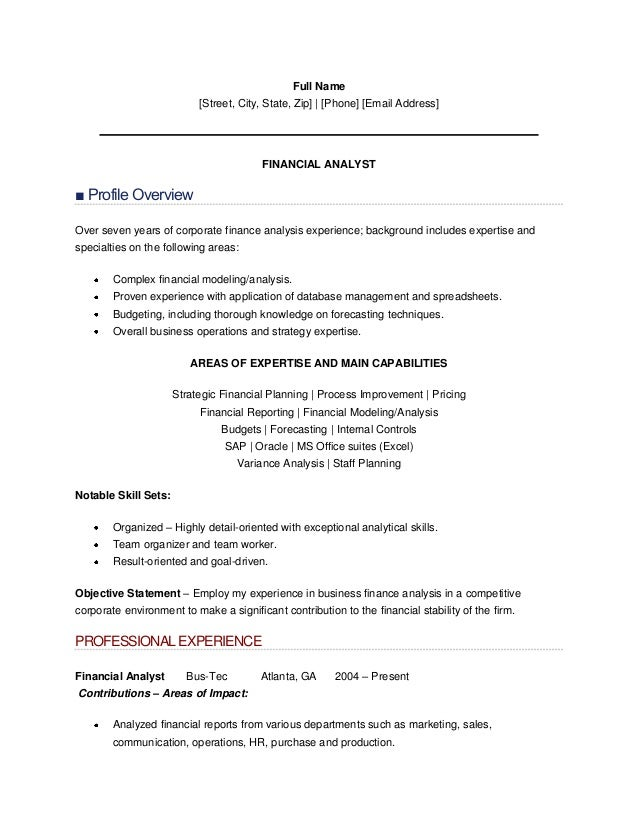 resume sle of finance analyst