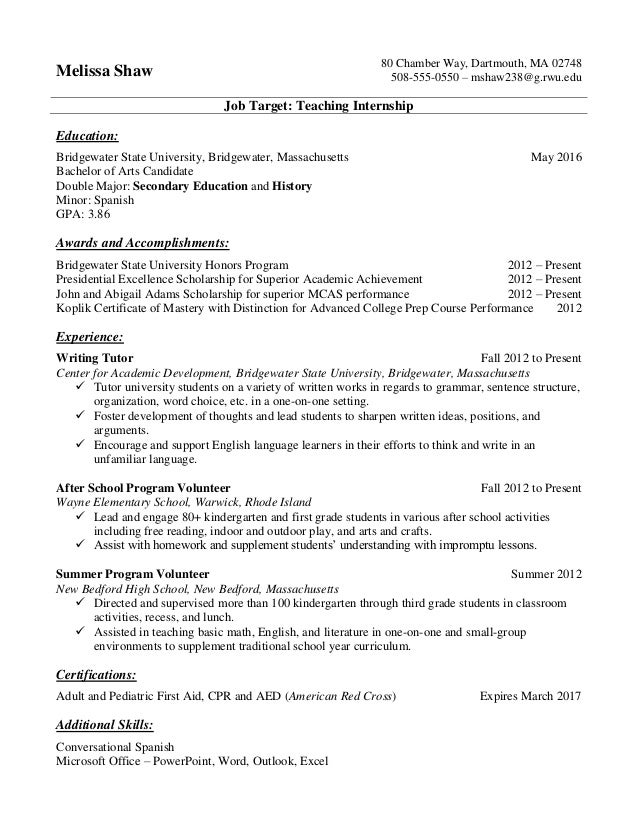 College Student Internship Resume Resume Samples For College