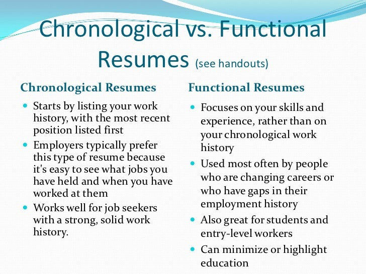 Functional Resume Vs Chronological Resume Functional Resume Vs