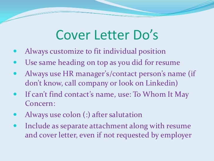 Cover letter when you dont have a name