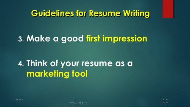 Guidelines for resume