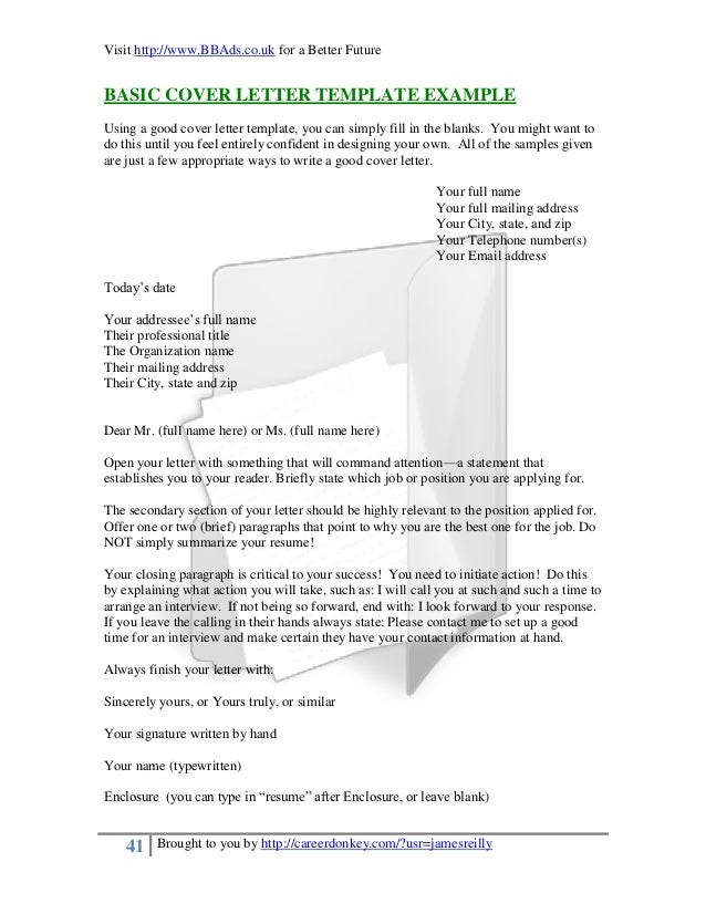 Fill ...  Blank Cover Letter Template