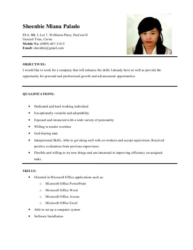 Resume sample for ojt accounting technology students
