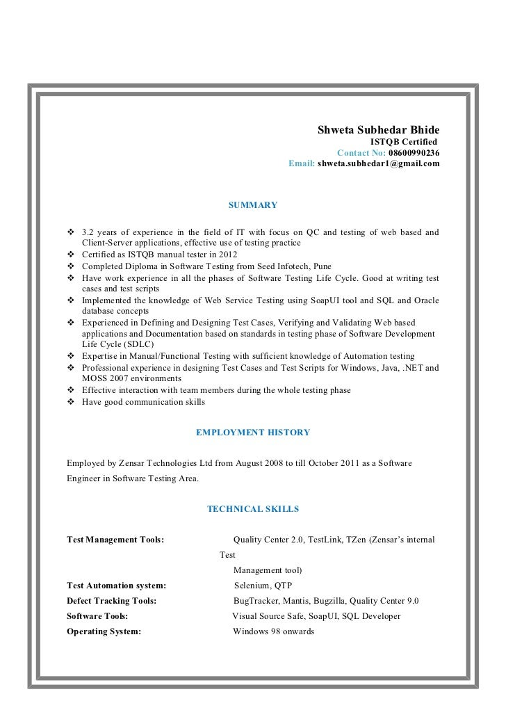 ... Sle Resume Experience 1 Year Software Testing Resume Format For 1 Year  Experience 28 ...