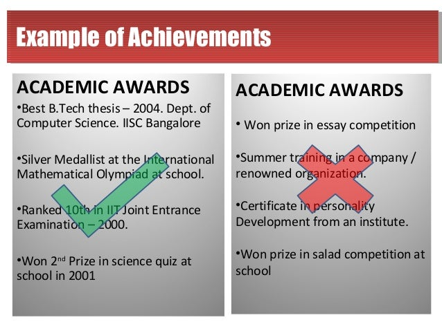 how to write academic achievements in resume