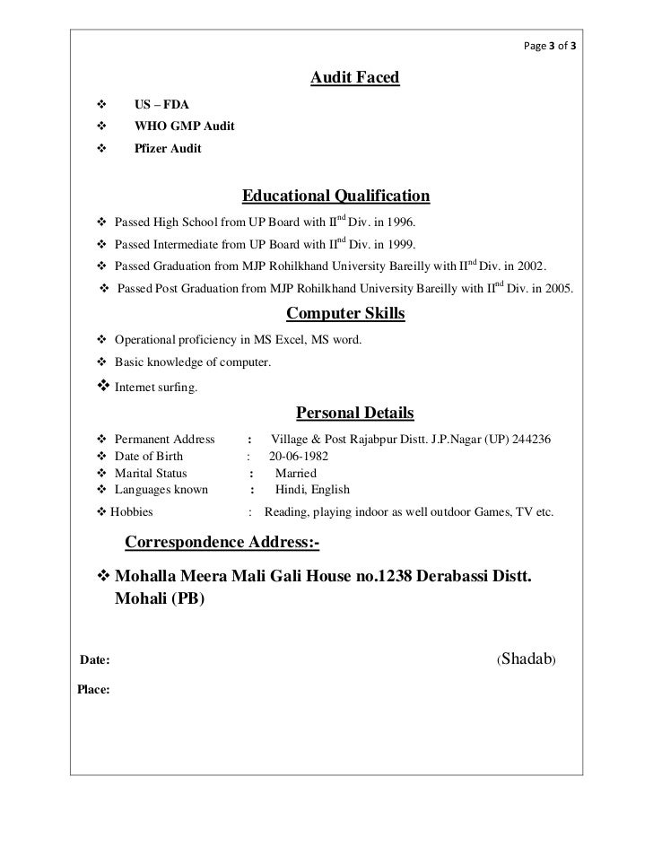 Educational Qualification Format Resume