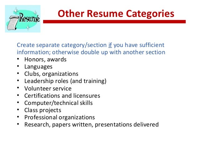 resume strategies  the realities      other resume categories