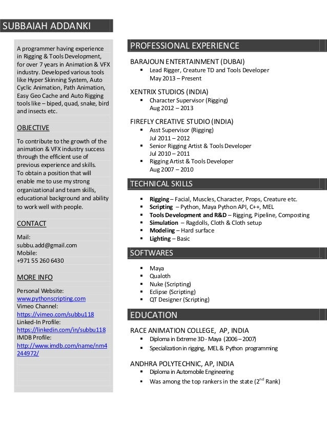 Great Beautiful Vfx Artist Resume Format Vignette   Example Resume Ideas .