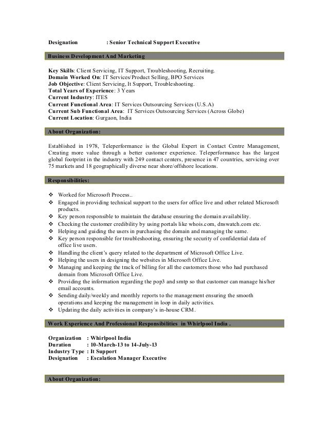 technical support experience resume technical support engineer